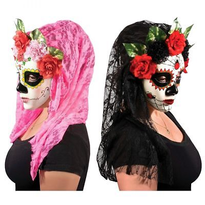 Day Of The Dead Womens Costume (Day of The Dead Womens Dia de Los Muertos Halloween Costume Accessory Mask)