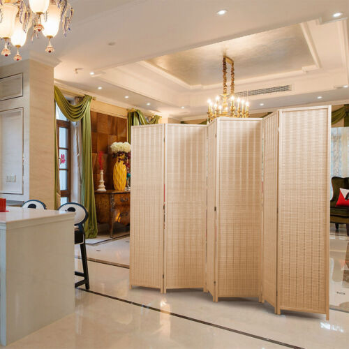 6-Panel Room Divider Partial Partition Freestanding Weaved Folding Screen