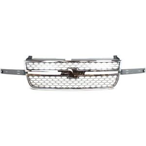 Grille 03-06 For Chevy Silverado 1500/2500 HD Chrome w/honeycomb Gray insert