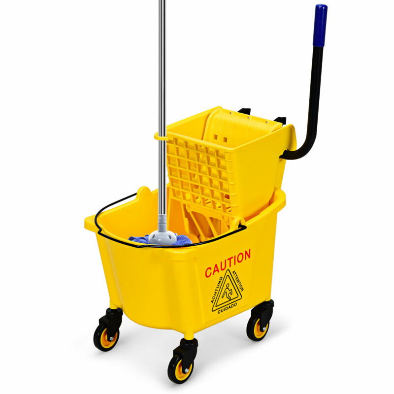 Premium Commercial Mop Bucket Side Press Wringer On Wheels Cleaning 26 Quart