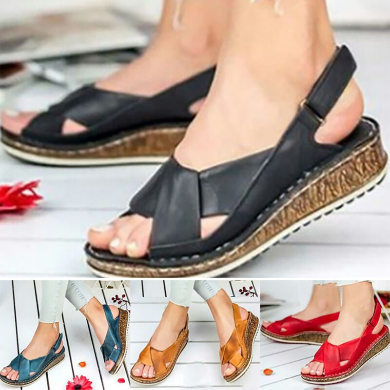 Women Orthopedic Sandals Platform Wedge Summer Slippers Flat