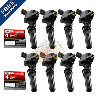 8 pack Ignition Coil DG508 Motorcraft Spark Plug SP479 For Ford Lincoln (Audi Ignition Coil)