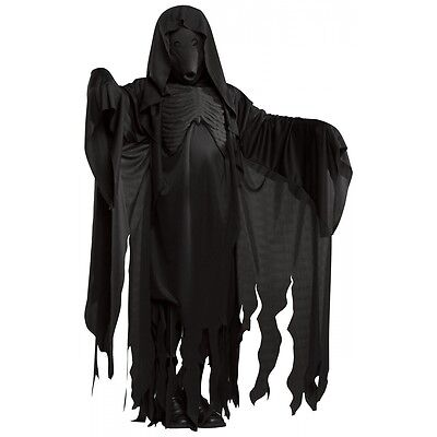 Halloween Grim Reaper Costume (Dementor Costume Harry Potter Mens Grim Reaper Ghost Scary Halloween Fancy)