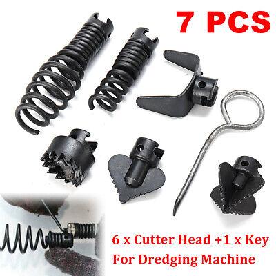 7pcs 16mm Manganese Steel Drain Cleaner Machine Combination Cutter Head Set