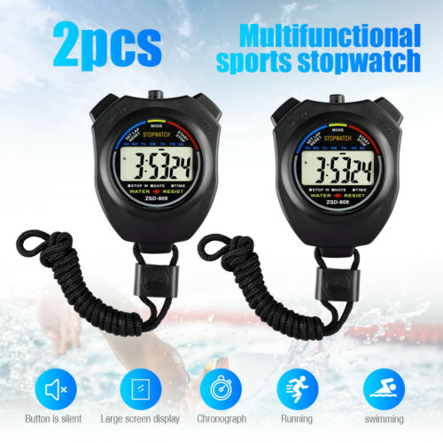 2PCS SET Digital Stopwatch Sports Counter Chronograph Date Timer Odometer Watch