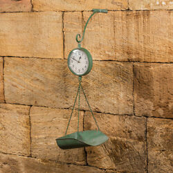 New Primitive Country Antique Vintage Style MARKET SCALE CLOCK Rustic Green