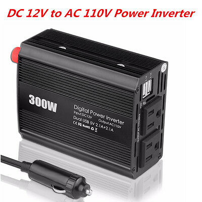 300W Car Power Inverter 12V DC to 110V AC Inverter Electronic Charger Convert