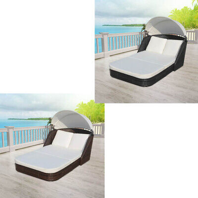 2-Person Sun Lounger Beach Daybed with Canopy Poly Rattan 3