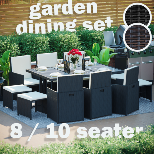 Garden Furniture - Rattan Garden Furniture 8 10 Seater Dining Table Chairs Cube Set Outdoor Patio