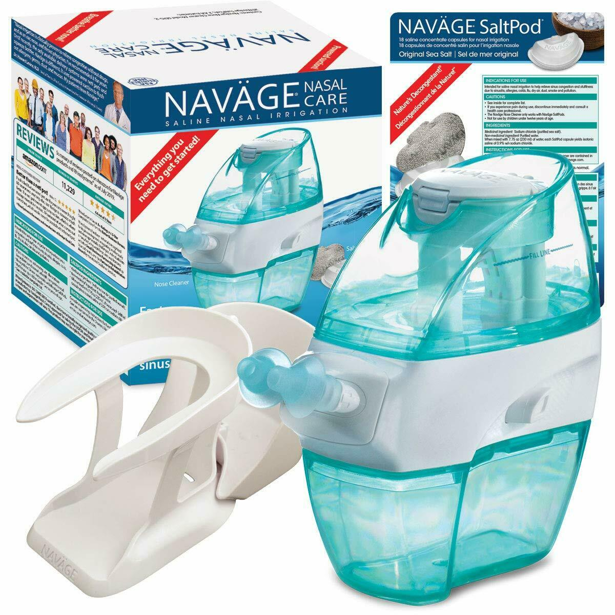 NAVAGE SOFT-CLICK BUNDLE: Nose Cleaner & 18 SaltPods ($89.95 if perfect) Neti