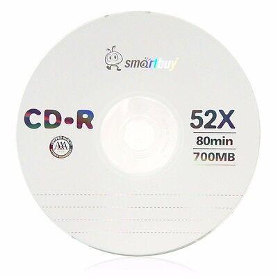 10 Pcs Smartbuy CD-R 52X 700MB/80min Logo Blank Record Disc w/ 10 paper sleeves