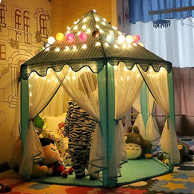 LED Light Princess Castle Pop Up Play Tent Kids Girl Play House Indoor Outdoor