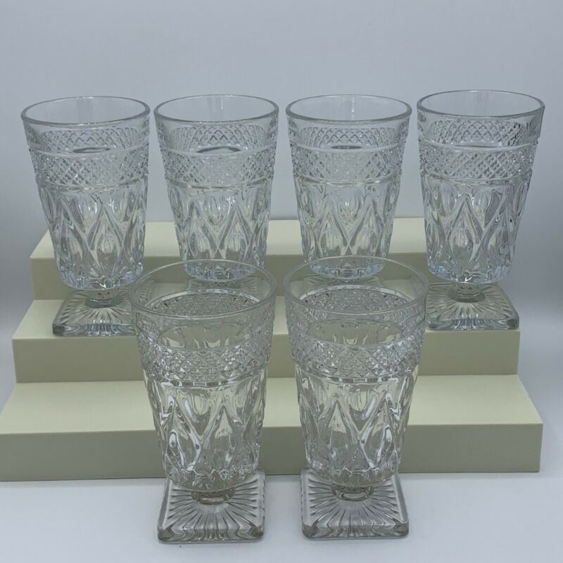 Vintage Imperial Glass Cape Cod Footed Tumblers, Clear, Set of 6
