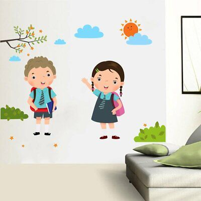 Back to School Boy and Girl Decal Art Mural Wall Sticker Home Room DIY Decor](Back To School Decorations)
