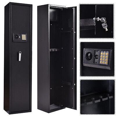 New 5 Rifle Electronic Lock Gun Storage Safe Cabinet Firearm Steel Lockbox Case
