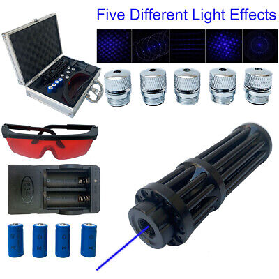 Blue High Power Light Laser Pointer 450nm Beam Visible Light 4pcs Batt Box Us