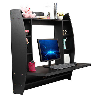 (Home Office Computer Table Floating Wall Mount Desk With Storage Shelves Bedroom)