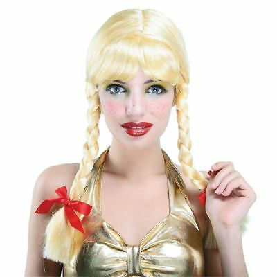 Heidi Costume Child (Ladies Blonde School Girl Britney Baby Heidi Plaits Fancy Dress Pigtail)