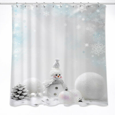 Pine Cone Shower Curtain (US STOCK Christmas Cute Snowman Pine Cone Waterproof Fabric Shower Curtain)