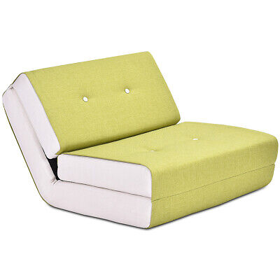 Fold Down Chair Flip Out Lounger Convertible Sleeper Bed Couch Game Dorm Green - Fold Out Bed