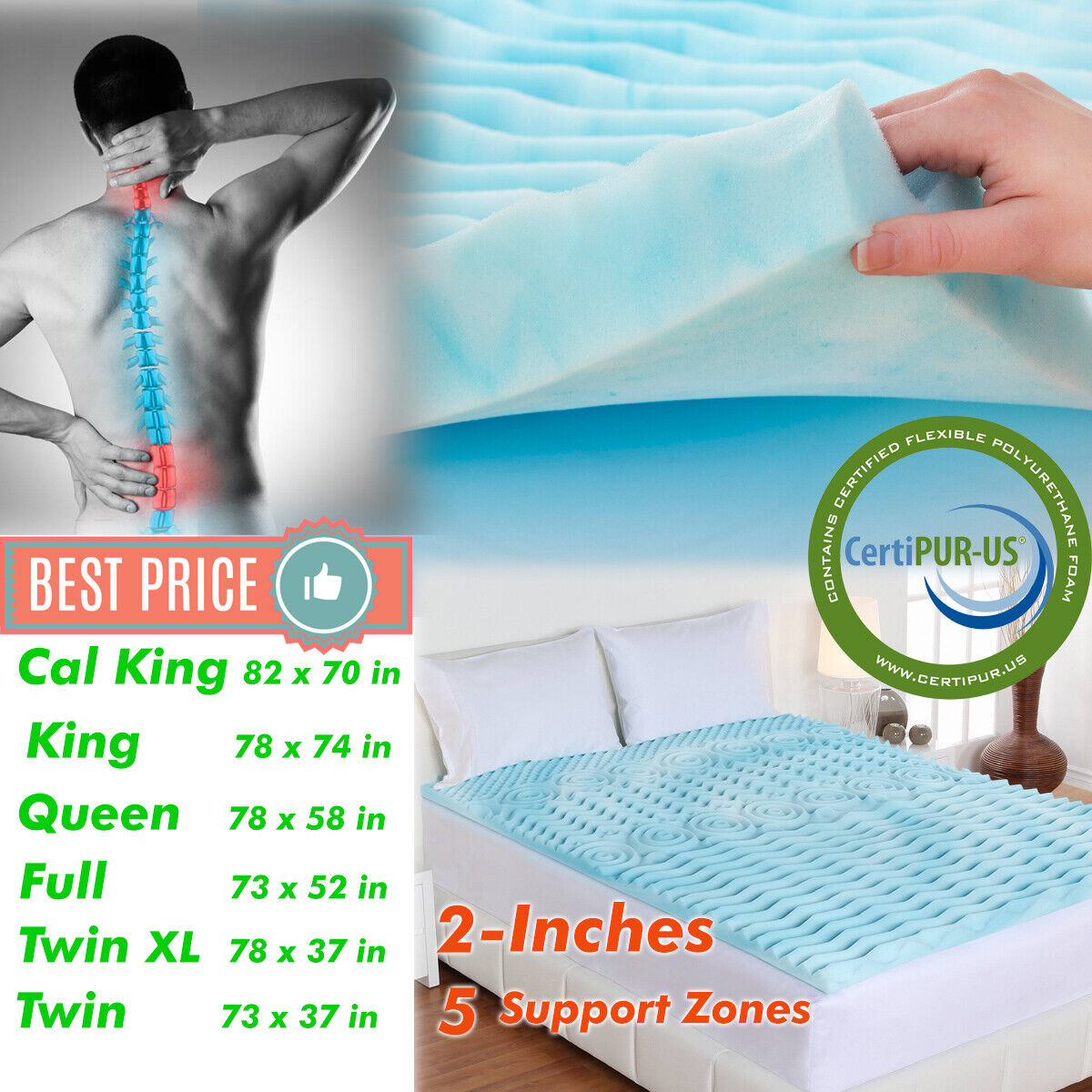 Orthopedic Bed Pad 2 Inch Memory Foam Mattress Topper Comfor