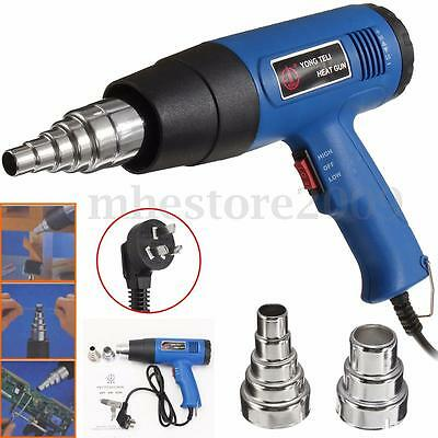 Hot Air Heat Gun Blower 1800W 600°C Paint Drying Striping Tool & 2 Nozzles