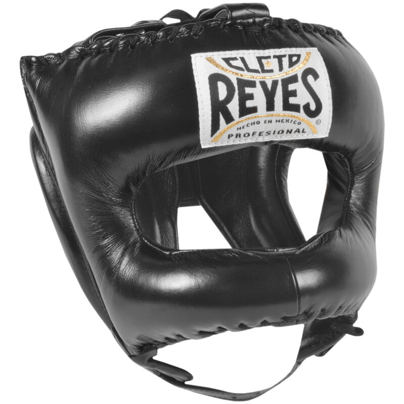 Cleto Reyes Traditional Leather Boxing Headgear with Nylon Face Bar - Black