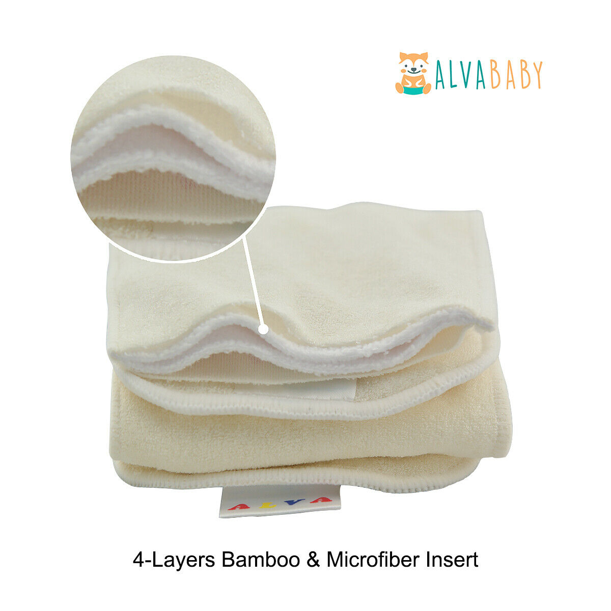 ALVABABY Cloth Diapers One Size Reusable Washable Pocket Nappy + Insert U Pick With 1 4layers Bamboo Insert