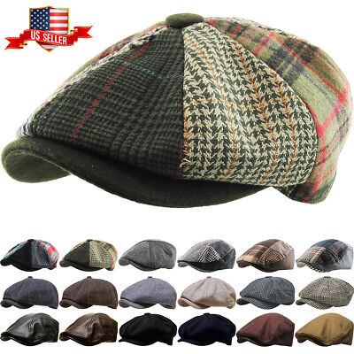 c72d00fd Men's Cabbie Newsboy and Ascot Plaid Ivy Button Hat Cap