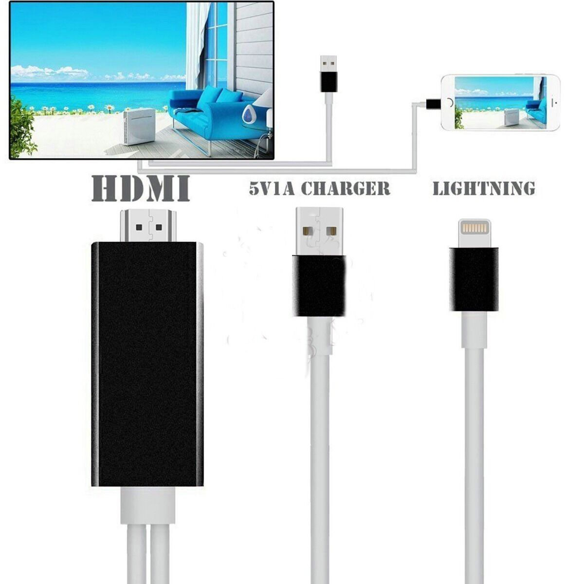 2m lightning to av hdmi hdtv tv cable adapter for apple ipad iphone 5s 6 6s plus. Black Bedroom Furniture Sets. Home Design Ideas