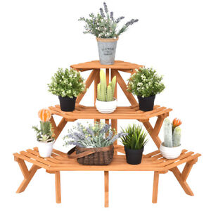 3 Tier Wood Corner Flower Stand Plant Ladder Pot Holder Display Rack Shelf