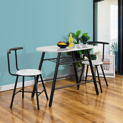 3 Piece Marble Top Dining Table Set Breakfast Metal 2 Chairs Kitchen Dining Room