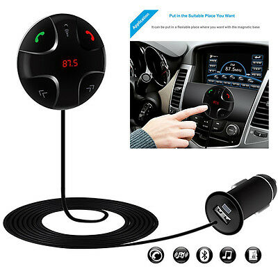 Bluetooth 30Music Receiver Player HandsFree Car Kit USB Charger Black foriphone