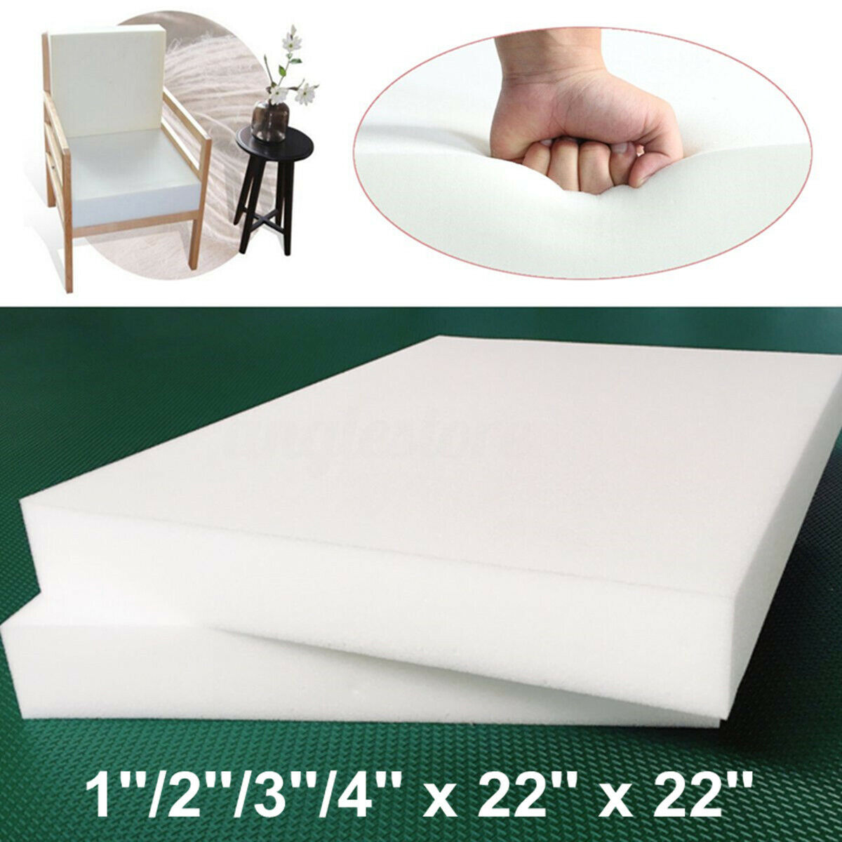 "22""x22"" High Density Seat Foam Rubber Cushion Replacement Upholstery Firm Crafting Pieces"