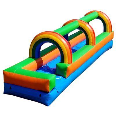 Inflatable Slip N Slide 25' Backyard Water Slide Kids Rainbow Jumper With -