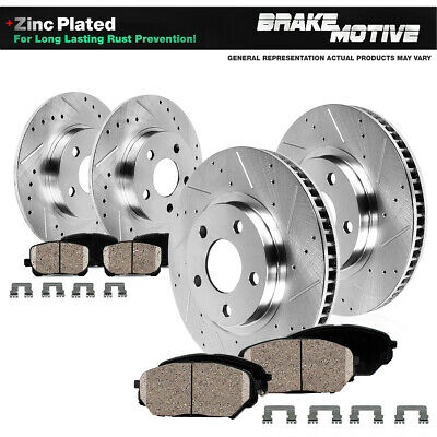 FRONT & REAR Drilled Slotted Brake Rotors & Ceramic Pads For 2010 - 2013 Genesis