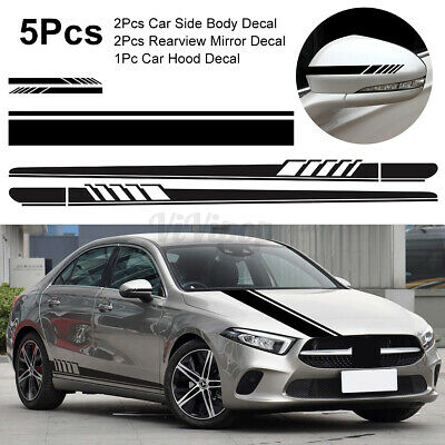 5Pcs Car Body Racing Long Stripe Side Door Hood Mirror Decal Vinyl Stickers US
