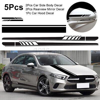 5Pcs Car Body Racing Long Stripe Side Door Hood Mirror Decal Vinyl Stickers US