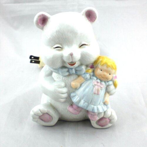 Vintage Porcelain Happy Bear w Baby Doll Nursery Night Light Lamp Table Electric
