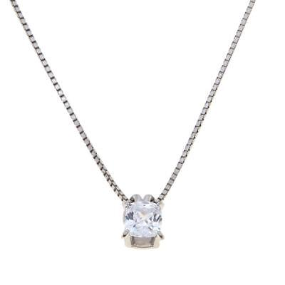 """ABSOLUTE 1CT CUBIC ZIRCONIA STERLING SILVER ADJUSTABLE 20"""" PENDANT NECKLACE HSN"""