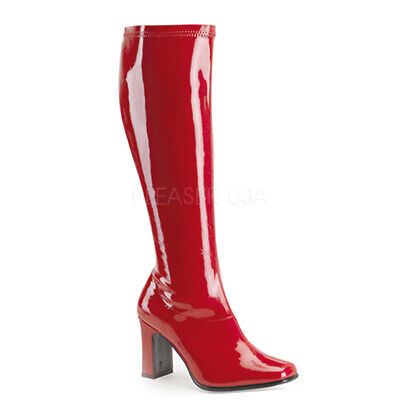 SALE Sexy Square Heel Red Patent Retro Mod 70's Gogo Costume Boots KIKI350/R](Boots 70 Sale)