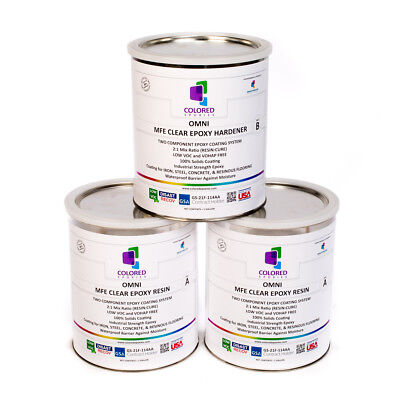 CLEAR EPOXY RESIN 100% SOLIDS HIGH GLOSS FOR PLYWOOD,CONCRETE,BASEMENTS.3Gal Kit