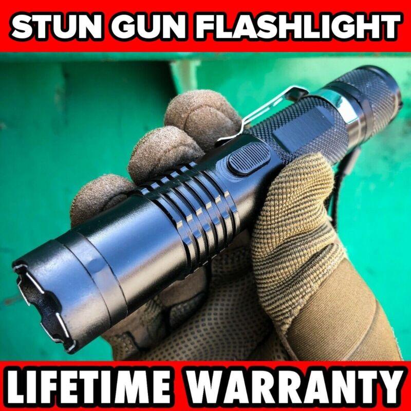 Black Tactical MILITARY Metal Stun Gun 499 MV LED Flashlight Rechargeable NEW