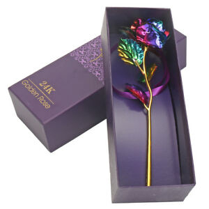 24K Colorful Gold Rose Flower Golden Dipped Mother's Day With Box Unique Gift