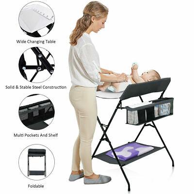 Baby Infant Changing Table Folding Diaper Station Nursery Organizer w/ Storage