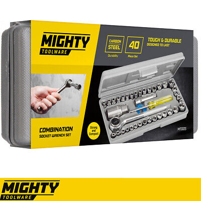 "Mighty Tools 40pc Professional Socket Driver Set 1/4"" & 3/8"" metric imperial"