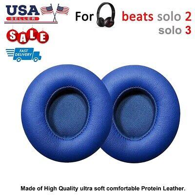 SALE! Replacement EAR PADS Beats By Dre Solo2 & Solo3 Headphones BLUE Pair - Dres Sale
