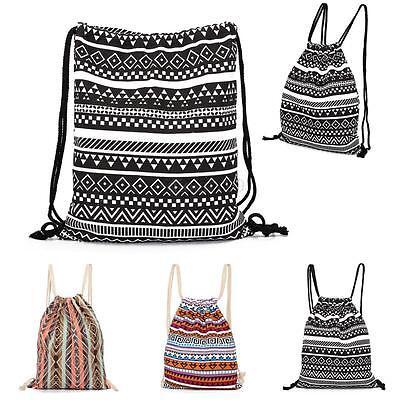 Unisex Vintage Drawstring Backpack Cinch Sack Tote Bag Canva
