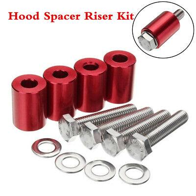 Red Aluminum Billet Bonnet Hood Vent Spacer Riser Kit For Oversized Engine Swaps