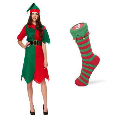 Weihnachten Elfen Kostüme (Damen Weihnachten Elfe Kostüm Socken Karneval Fasching  Wichtel Damen Party)